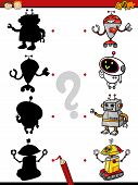 pic of brain-teaser  - Cartoon Illustration of Education Shadow Matching Game for Preschool Children - JPG