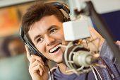 stock photo of recording studio  - Portrait of an university student recording audio in a studio of a radio - JPG