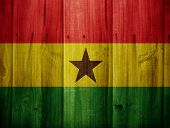 picture of wooden fence  - Ghana flag painted on the wooden fence - JPG