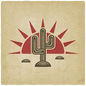 image of cactus  - Desert cactus at sunset old background  - JPG