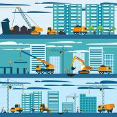 pic of construction machine  - Construction and building concept with builders machines and skyscrapers vector illustration - JPG