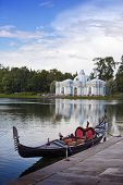 picture of grotto  - Venetian gondola on the bank of Big pond and pavilion  - JPG