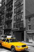 pic of cabs  - New York Soho buildings yellow cab taxi of Manhattan New York City NYC USA - JPG