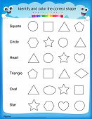 image of kindergarten  - Identify and color the correct shape colorful printable kids worksheet for pre school  - JPG