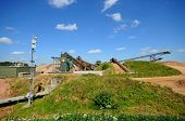 picture of sand gravel  - Sand and gravel quarry conveyor belt Alrewas Staffordshire England UK Western Europe - JPG