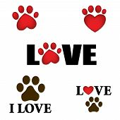 stock photo of paws  - Paw prints with I love text - JPG