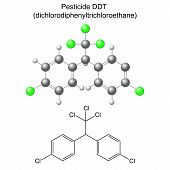 pic of pesticide  - Structural chemical formula and model of DDT pesticide - JPG