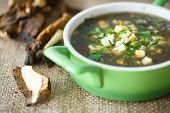 image of sorrel  - sorrel soup with dried mushrooms in a bowl - JPG