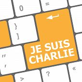 stock photo of extremist  - Je Suis Charlie text on keyboard keys movement against terrorism - JPG
