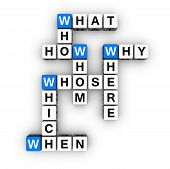 stock photo of blue white  - all question words crossword  - JPG
