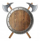 image of battle  - round wooden knight shield and two crossed battle - JPG