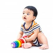 pic of non-toxic  - Cute asian baby playing toy isolated on white - JPG