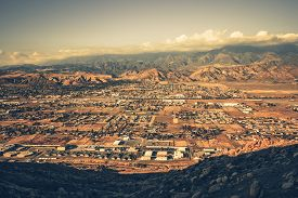 stock photo of bans  - Banning California Panorama and San Bernardino Mountains at Sunset - JPG