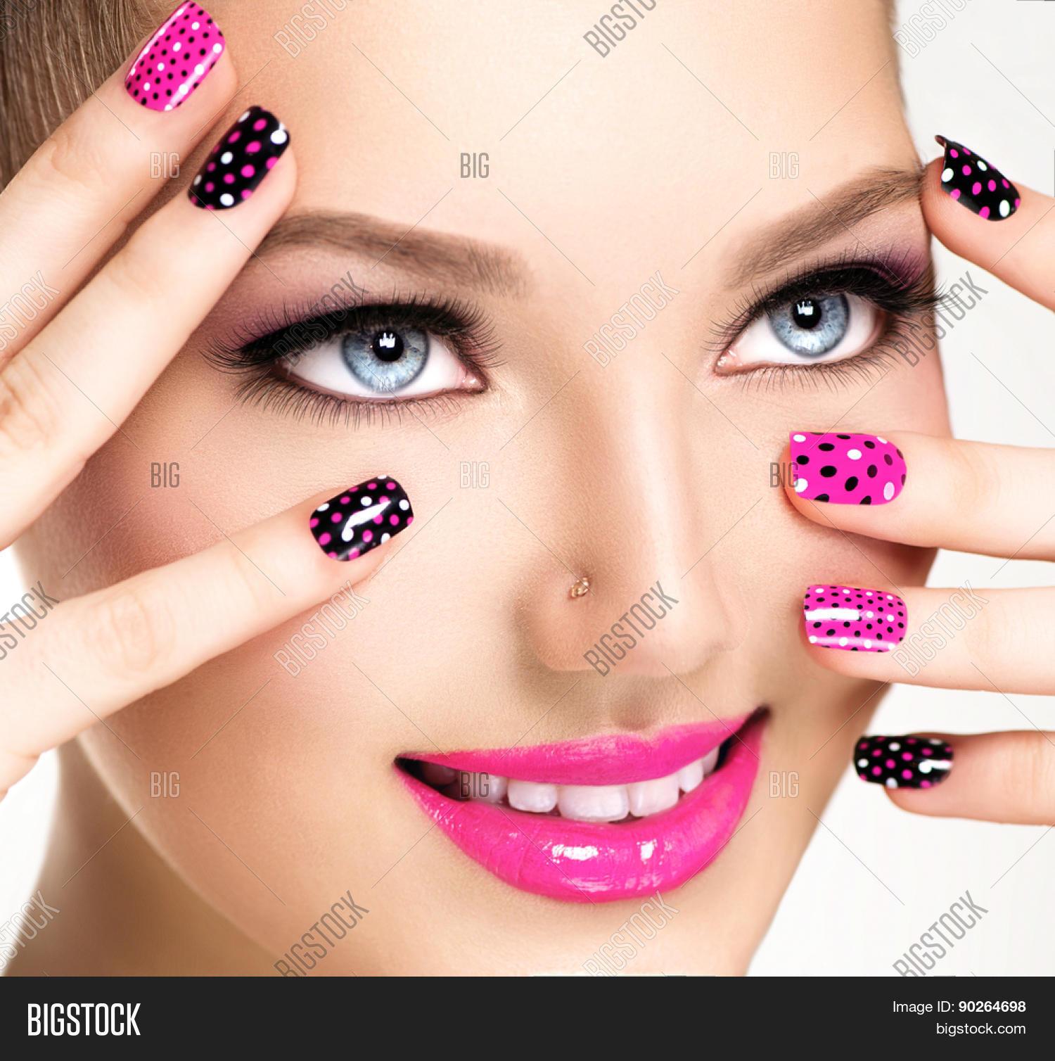 Nail Salon Game Beauty Makeover: Beauty Girl Portrait Vivid Makeup Image & Photo