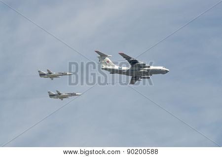 MOSCOW - MAY 9: Aerobatic demonstration team on parade devoted to 70th anniversary of victory in the