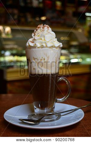 Viennese Coffee In Glass Cup With Whipped Cream