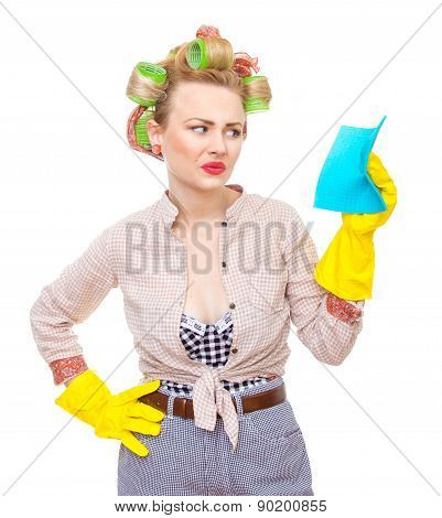 Funny Young Unhappy Housewife With Gloves Holding Rag / Wipe, Isolated On White. Pin-up Girl