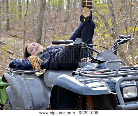 Teen Girl On A Four Wheeler