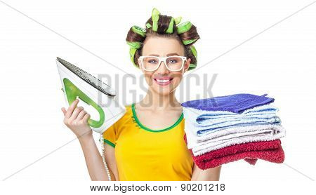 Smile Woman Holding Iron And Towels.