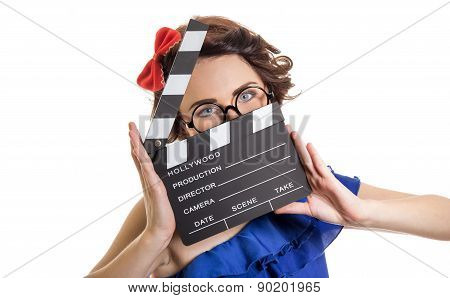 Woman With Movie Clapper Board Isolated On White. Young Retro Pin-up Girl