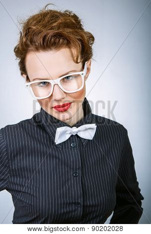 Portrait Of A Expressive Stylish Woman, Close Up