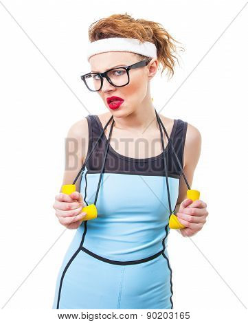 Lazy Woman With Expander, Funny Fitness Girl Over White Background