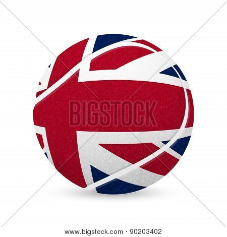 Tennis Balls With Uk Flag Isolated On White.