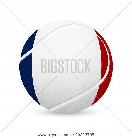 Tennis Balls With French Flag Isolated On White.