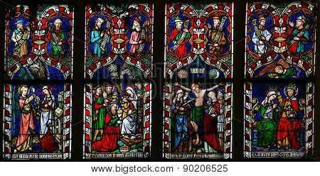 Stained Glass Window Depicting Scenes In The Life Of Mother Mary