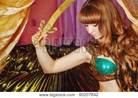 Oriental Beauty Holding A Sword
