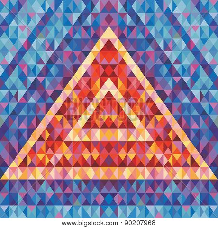 Retro futurism - abstract vector background. Abstract geometric pyramid.