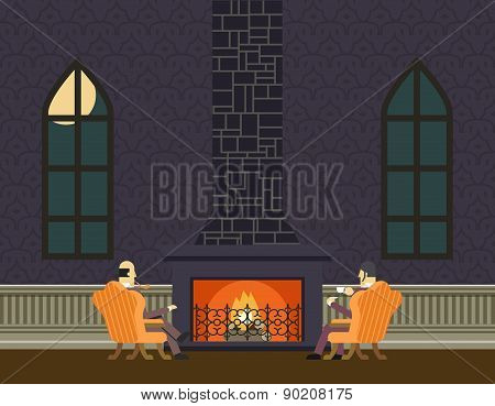 Gentlemen at Fireplace Evening Room Hall Discussing Business Concept Icon Background Flat Design Vec