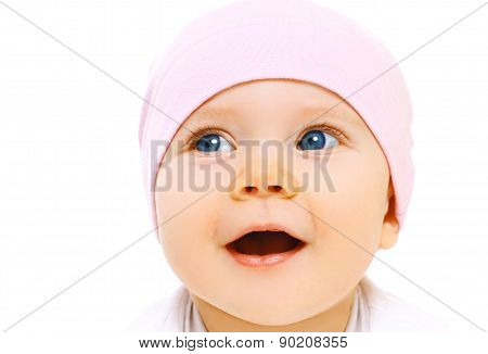 Closeup Protrait Of Cute Baby In Hat On A White Background