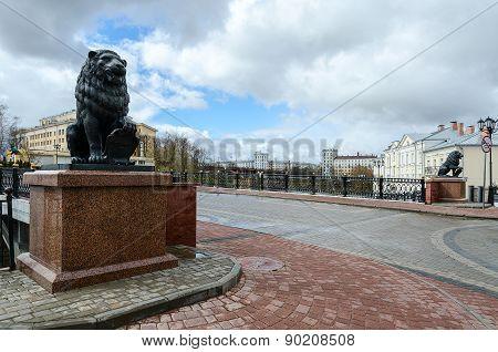 Sculptures Of Lions At Pushkinsky Bridge, Vitebsk