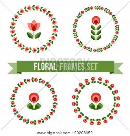 Set Of Design Elements - Round Floral Frames