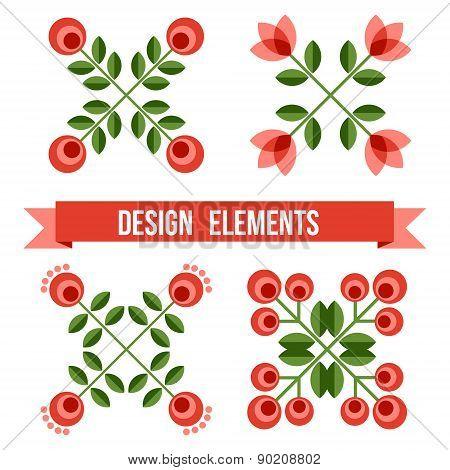Set Of Design Elements - Retro Flowers
