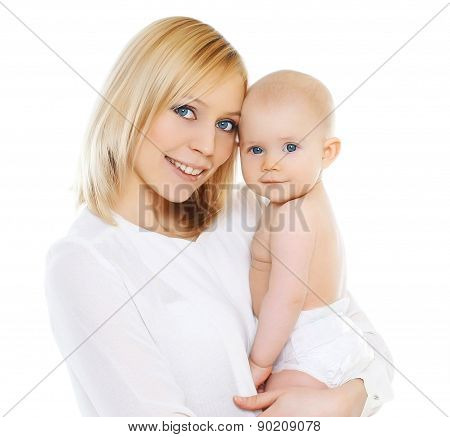 Portrait Of Happy Mother And Baby On A White Background
