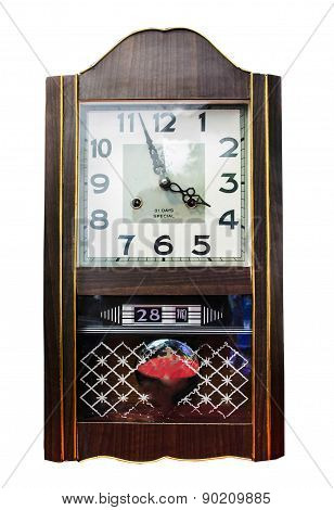 Antique wooden clock isolate on white background