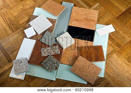 Cork Quartz Glass Tiles And Wood Floor