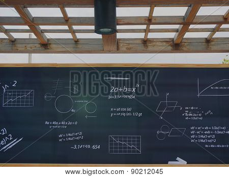 Mathematic Formulas On A Blackboard At School