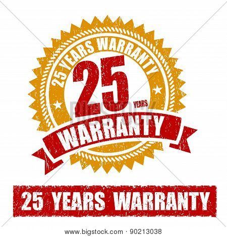 25 Years Warranty Rubber Stamp