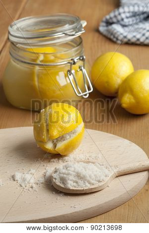 Moroccan Preserved Lemons with salt