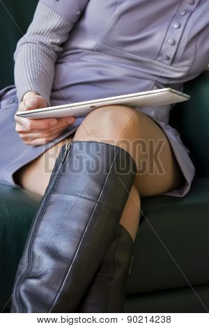 Woman And Tablet, Legs