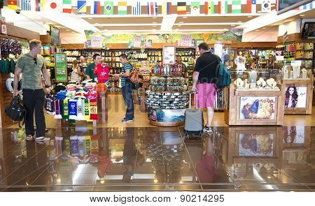 Shops with souvenirs in an airport Costa Rica