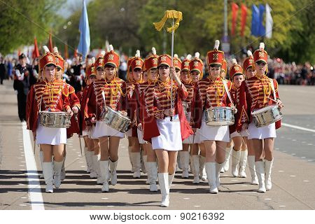 Orel, Russia - May 09, 2015: Celebration Of The 70Th Anniversary Of The Victory Day (wwii). Drummers