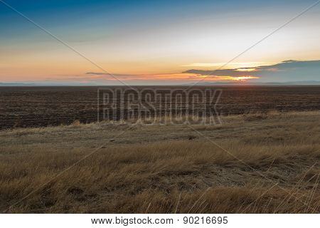 Sunrise In The Steppes. Blue Sky, Yellow Grass.