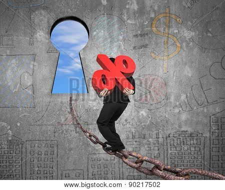 Man Carrying Percentage Sign On Chain Toward Keyhole With Sky