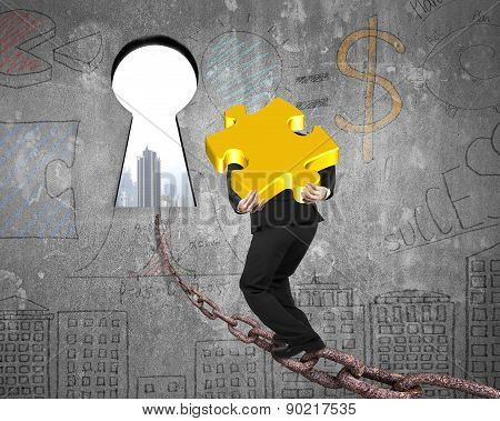 Man Carrying Golden Puzzle On Chain Toward Keyhole With Cityscape