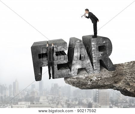 Boss Using Megaphone Employee Hanging Fear Word Edge Cliff Cityscape