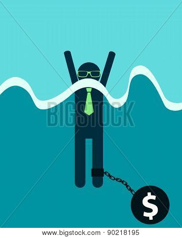 Businessman with debt burden. Man drowns. Vector illustration